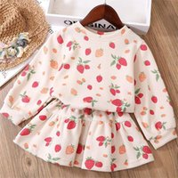 1 6y Girls Dress Suit For Childrens Clothing Baby Kids Strawberry Print Clothes Outfits Set