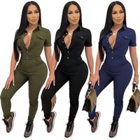 Wholesale long sleeve rompers Womens jumpsuits overalls one piece pants sexy skinny playsuit fashion solid jump suit women clothes klw7235