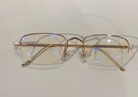 النظارات الذهبية نصف إطار واضح عدسة الرجال خمر بصري بدون شفة نظارات أزياء النظارات الشمسية إطارات النظارات مع مربع
