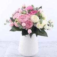 SKTN Rose Rosa Silk Bouquet Pfingstrose Künstliche Blumen 5 Große Köpfe 4 Kleine Bud Braut Hochzeit Dekoration Künstliche Blumen