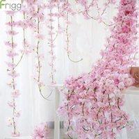 Decorative Flowers & Wreaths Frigg 2M Sakura Cherry Rattan Wedding Arch Decoration Artificial Vine Silk Ivy Bride Room Hanging Garland
