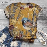 Rorychen New Arriaval Women Bird Dibujos animados Impreso de manga corta Impresión animal Camiseta O-cuello Tops Casuales Tee 2020 A610