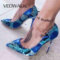 Weowalk змея печать кожаные женщины супер высокие каблуки сексуальные дамы заостренные носки шпильковые насосы скольжения на каблуках вечеринка обувь синий 210610