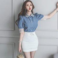 Korean Summer Vintage Cowboy Blouse Women Casual Puff Sleeve Back Lace patchwork Shirt Formal Blusas 210529
