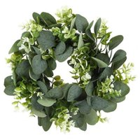 Decorative Flowers & Wreaths Eucalyptus Wreath Artificial Plants Background Wall Window Wedding Party Supplies Gifts Diy Christmas Home Deco