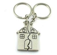 200pairs / 롯트 빠른 무료 배송 커플 선물 로맨틱 하우스 키 체인 맞춤형 열쇠 고리 발렌타인 데이 사랑 열쇠 고리 반지 FOB