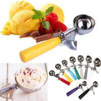 Nueva cuchara de helado de acero inoxidable Pilas de fruta redonda Mash Cuchara con mango de plástico Herramientas de barra de cocina Accesorios WX9-837