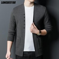 Men's Sweaters Top Quality Autum Brand Fashion Knit Thick Button Up Cardigan Japanese Men Sweater Casual Solid Coats Jacket Clothes