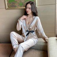 Yidanna Женщины Pajamas набор из искусственного шелка ночная одежда с длинными рукавами с длинными рукавами спящая одежда осенняя одежда для сна Deep V-образным вырезом Сексуальные тонкие ночные костюмы 210305