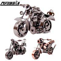 Captainiron اليدوية الحديد دراجة نارية نموذج الرجعية موتور تمثال المعادن الديكور الحديد دراجة نارية الدعامة خمر ديكور المنزل الاطفال لعبة C0220