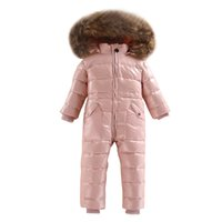 Dollplus Baby Strampler Russischer Winter Overalls White Duck Down Ski Schneeanzug Outdoor Girls Boy Jumpsuits Echt Pelz Kapuze 2 ~ 5 Jahre J1221