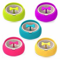 Dog Apparel Pet Cat Driking Water Fun Bone Shaped Slow Feeder Food Bowls Bowl Dishes For Puppy Small Large Feeding