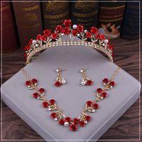 Rose Flor 2021 Casamento Vermelho Nupcial Tiara Rhinestone Cabeças De Cristal Nupcial Headbands Acessórios De Cabelo Acessórios Noite Festa Noiva Vestidos