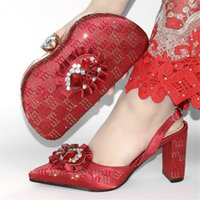 Dress Shoes 2021 Fashion Wine Pumps And Purse Handbag African Spring Autumn Design Pointed Toe Matching With Bag Set CR2102 Height 9CM