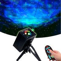 Sky Sky Sketor LED ضوء الليل المحيط يلوح مصباح 360 درجة دوران سديم الغلاف الجوي أضواء للطفل طفل غرفة الأشعة تحت الحمراء التحكم عن بعد أو التحكم الصوتي