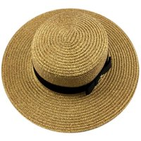 Femmes larges bords d'été chapeaux de la plage de paille naturel chapeaux plateaux plateaux top robe de soleil chapeau montrant chapeau féminino solaire