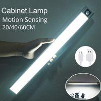 Cabinet Light D2 Ultra Thin 20 40 60cm LED Rechargeable PIR Motion Sensor Closet Wardrobe Lamp Under Cupboard Shoebox Night