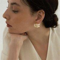 Stud French Multi-Layer Baroque Freshwater Pearl Earrings Net Red Elegant S925 Temperament Classic Design Sense INS