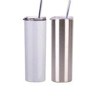 20Oz SublimArtion Gerade Tumbler mit Stahl Strohgummi-Böden Edelstahl Tumbler Kaffeetasse Sublimation Leerzeichen Wasserflasche