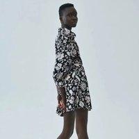 Casual Dresses Nlzgmsj female za printed dresses with long sleeves plied ladies low-cut v dress thin spring midi 09 47P8