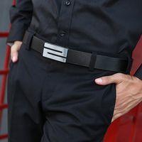 Cintura in pelle da uomo Business fibbia liscia Business Youth Pantaloni da uomo Coreano moda uomo casual casual versatile nuovo stile