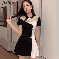 Jielur Coreano Summer Dress Donne Stand Collar Collar Maglia Patchwork Hit Color Vintage Bianco Dress Due pezzi Set Set elegante Abiti da donna 210315
