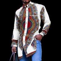 Men's Casual Shirts Black African Dashiki Print Shirt Men 2021 Fashion Hip Hop Streetwear Afrian Clothes Slim Fit Long Sleeve Male
