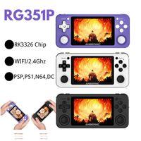 R351P 3.5 بوصة IPS المحمولة الرجعية لعبة وحدة التحكم RK3326 مفتوح المصدر 3D الروك 64 جرام 5000 ps md فيديو ألعاب الموسيقى لاعب