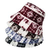 Warm Panama Caps Outdoor Christmas deer Snow Printed Faux Fur Winter Bucket Hat For Women Men Xmas Plush Hat Gifts