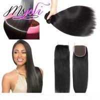 8A Mink Brazillian Body Wave Straight Sin procesar Brasileño Peruano Indio Indio Humano Hair Brazilian Straight Hair Weave Bundles con cierre