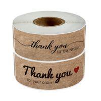 7.5 * 2,5 cm Carta kraft Grazie Adesivi adesivi 120pcs / lot Holiday Regalo Regalo Imballaggio Etichette a lungo slittamento Etichetta di stampa marrone marrone