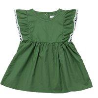 80-120cm 여자 여름 드레스 짙은 녹색 민소매 공주 드레스 짧은 치마 아기 유아 레이스 술 Tassel Flouncy 민소매 파티 드레스 H236S3M