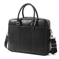 Men's High-quality Black leather Briefcase Simple version design Handbag laptop Bag Crossbody Section Mens Computer Bags Business