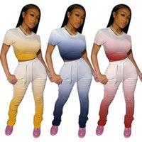 Frauen Trainingsanzüge Zweiteiler Set Gradient Crop Top + gestapelte Hosen Leggings Hosen Sommer Casual Matching Plus Size S-XXL