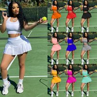 Women's Fashion Two Piece Dress Set Casual Sexy Pure Color Nightclub Style Slim Sports Skirts Vest Culottes