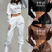 Women's Two Piece Pants 2021 Autumn Tracksuit Women Casual Letter Heart Hoodies 2 Set Sweatshirt+Pants Suit Sport Outfits Spring Sportswear