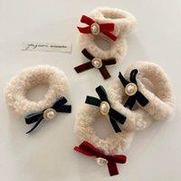 Velvet Pearl Filles Scrunchies Vintage Bows Enfants Bandes de cheveux Enfants Cheveux Cravate Mode Filles Cheveux Accessoires Bandes de tête B3992
