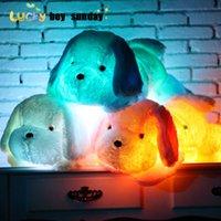 50cm 80cm 강아지 깃털 깜박임 귀여운 빛 강아지 베개 깜박이는 어두운 아이들의 장난감을 선물로 빛나는 LED 가벼운 장난감 어린이를위한 선물