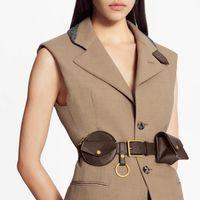 Frauen täglich Multi Pocket 30mm Gürtel mit abnehmbaren rechteckigen Kartenbeutel Kleine runde Brieftasche und Schlüsselhalter 100 cm