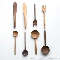 Juego de vajillas de madera Cuchara de cubiertos Tenedor Buttler Cuchillo Eco Friendly Mesa Set Negro Nuez / Cuchara de madera de cerezo