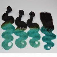 Schwärzlich grüner Spitzenverschluss mit Haarbündeln Zwei Ton 1b Grüne Körperwelle Ombre Menschliche Haare Gewebt mit Top-Verschluss 4pcs Lot