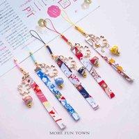 Keychains Cute Ceramics Maneki Neko Lucky Kawaii Cat Fortune Sakura Keychain Key Chain Car Bag Pendent Mobile Accessories Women