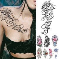 방수 임시 문신 스티커 내가 당신을 사랑한다 나는 당신을 사랑한다 Tattoos 립 프린트 나비 꽃 바디 아트 팔 가짜 슬리브 Tatoo 여성