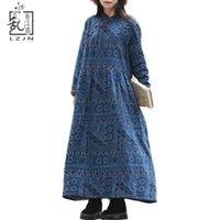 Robes décontractées LZJN Printemps Faux Fourrure Vêtements Femmes Maxi Élégante Coton Robe Robe Pull Robe à manches longues Robe d'hiver à manches longues 1902