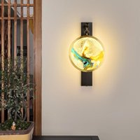 Lampe murale en émail en cuivre Nouveau lampe murale de salon de style chinois pour la maison couloir de couloir à la chambre de chevet