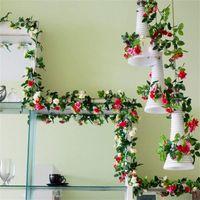 Decorative Flowers & Wreaths 2 Packs Of Artificial Flower Wreath 230 Cm Silk Climbing Rose Wedding Home Decoration Simulation Ivy Vine Pink