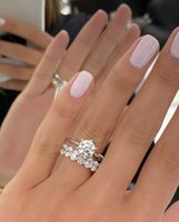 Classic Six Claws 925 Sterling Silver Wedding Ring 2ct Round Simulated Diamond Engagement Cocktail Rings finger Sets for Women Jewelry