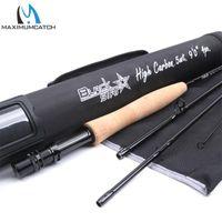 MaximumCatch 5-8wt Rod 9FT 4sec Carbon Faser Schnelle Aktion Black Star Angelrute mit Cordura-Röhre