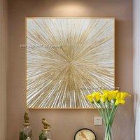 Pintura a óleo de ouro da tira artesanal pintura a óleo abstrata na arte da parede da lona para a sala de visitas do quarto original 210310