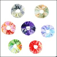 Jewelry Jewelryveet Scrunchie Tie Dyeing Women Girls Elastic Rubber Bands Gum Gradient Color Hair Ring Drop Delivery 2021 Qwkpd